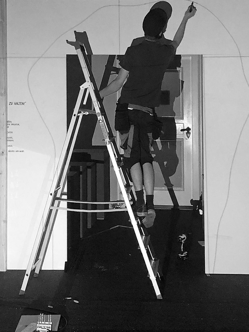 Raum 1, Aufbau,  Im Steinbruch der Zeit, Foto: Formikat